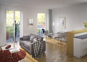 Friedrich-Ebert-Ring_Visualisierung_Wohnung_Innenarchitektur_Wohnzimmer_Kueche
