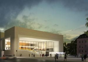 Stadttheater-Wuerzburg_01_Architekturvisualisierung_Rendering_Abendstimmung